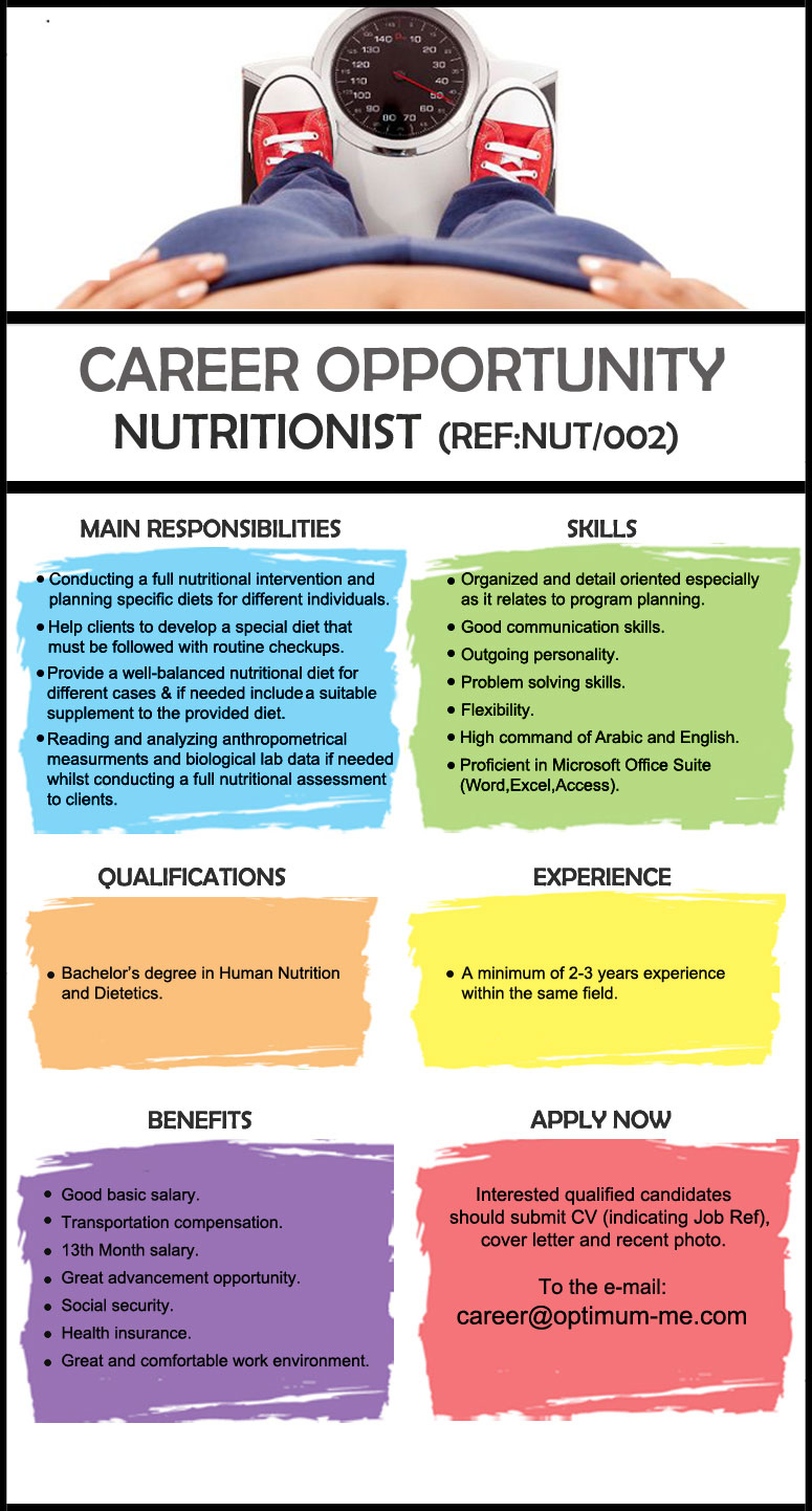 new job opportunity in jordan  nutritionist  interested